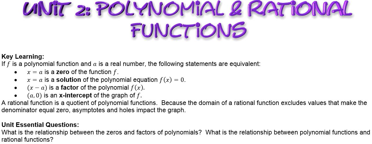 Unit 2 Polynomial Rational Functions Carlisle Area School District